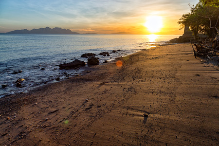 nusa: Sunrise on a beach in Maumere on the island of East Nusa Tenggara in Indonesia.