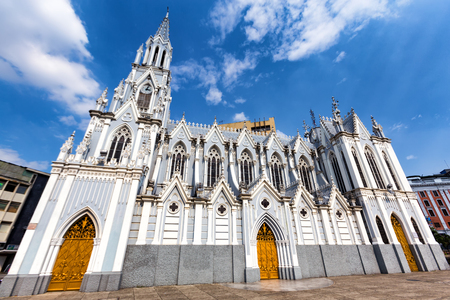 Blue skies over the dramatic Gothic La Ermita Church in Cali, Colombia.