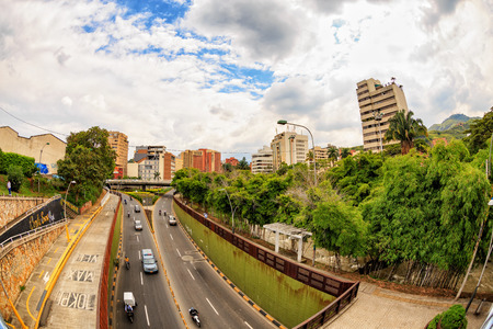 View of a highway in downtown Cali, Colombia. Editorial