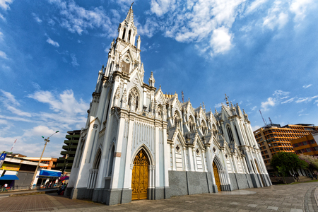 Landscape view of the blue gothic La Ermita Church in downtown Cali, Colombia.