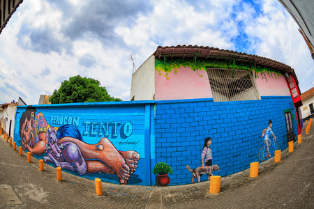 Fisheye view of murals in Cali, Colombia.