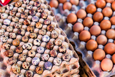 An assortment of organic eggs for sale in the main market in Maumere, Indonesia.