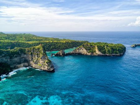 Aerial view of Nusa Batupadasan Island off the coast of Nusa Penida near Bali, Indonesia.