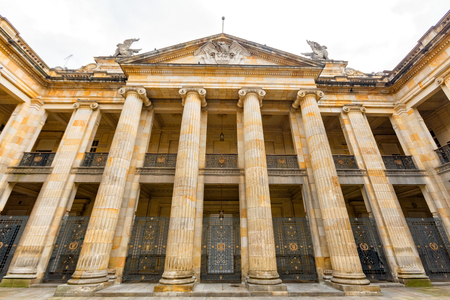 national congress: Pillar detail of the interior of the Capitolio Nacional in Bogita, Colombia. Stock Photo