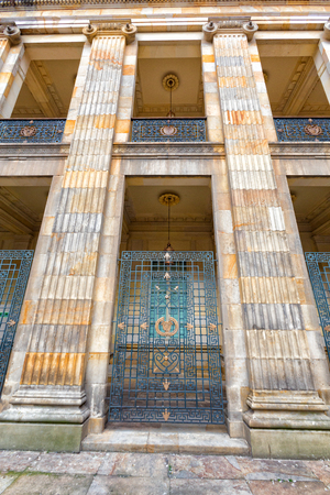 national congress: Detail view of pillars at the Capitolio Nacional in Bogota, Colombia.