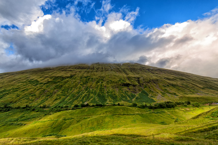 Wide angle view of Beinn Odhar in Scotland.