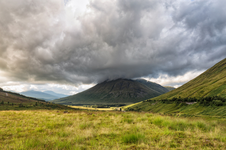 A valley in Scotland including Beinn Dorain and Beinn Odhar Mountains. Stock Photo