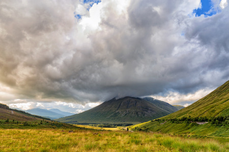 Beautiful landscape view of Beinn Dorain in the summer in Scotland, United Kingdom.