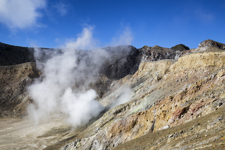 Mass amounts of sulphuric gasses coming out of the caldera of Mount Egon in Indonesia.