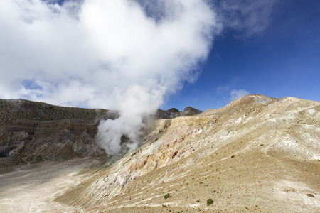 erupting: After a tough hike the caldera on the summit of Mount Egon presents itself in all its splendor.