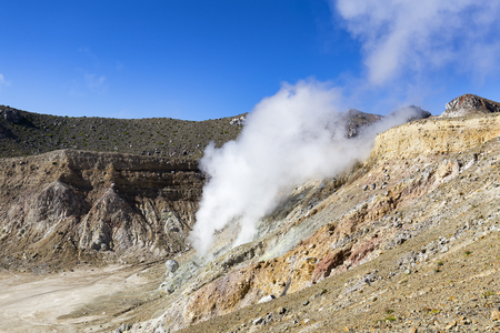 Sulphur spews into the air at the summit of the active volcano, Mount Egon on East Nusa Tenggara.