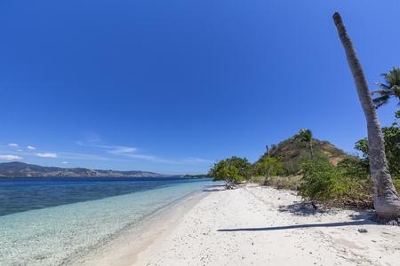 An empty beach on an island in the Seventeen Island National Park, East Nusa Tenggara, Indonesia.