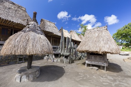Various tradtional structures in the Bena traditional village in Flores, Indonesia.