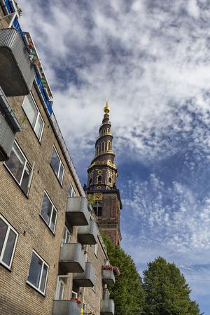 Portrait view of the spire at the Church of our Savior in Copenhagen, Denmark. Archivio Fotografico - 123632284