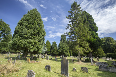 Beautiful summer day in the cemetery of the Saxon Sanctuary Church in Wootton Wawen, England. Archivio Fotografico - 123633530