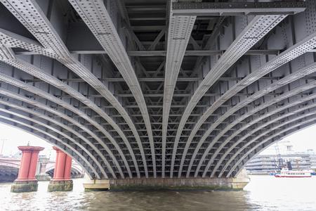 View underneath a bridge in downtown London.