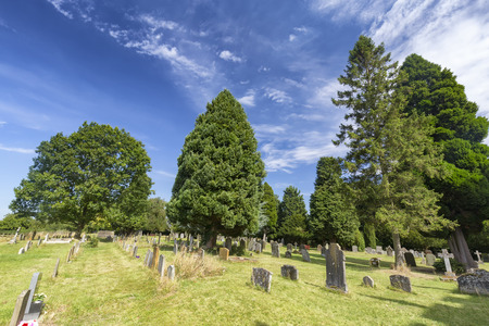 A very old cemetery at the Saxon Sanctuary Church in Wootton Wawen, England. Archivio Fotografico - 123633801