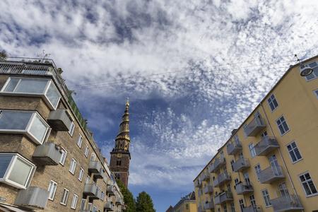 Apartments near the spire of the Church of our Savior in Copenhagen, Denmark. Archivio Fotografico - 123633936