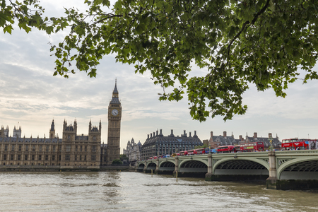 Red Buses and Big Ben in London, England. Archivio Fotografico - 123633937