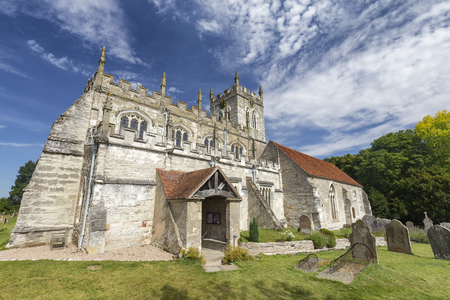 Wide angle view of the Saxon Sanctuary Church in Wootton Wawen, England. Archivio Fotografico - 123633944