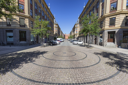 Roundabout and street on a summer morning in Copenhagen, Denmark. Archivio Fotografico - 123571810