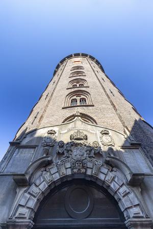 Portrait view of the Rundetaarn or Round Tower in Copenhagen, Denmark. Archivio Fotografico - 123571812