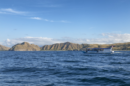 A boat passes Padar island in the Komodo National Park.