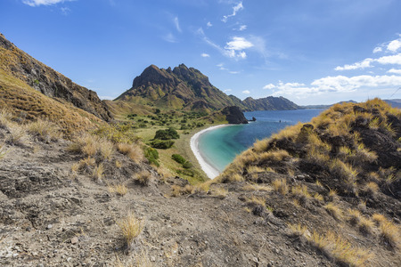 A beautiful beach from above on Pulau Padar island in the Komodo National Park.