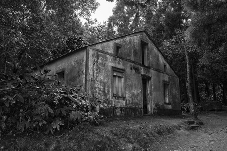 Mysterious old Azores Building in Black and White.