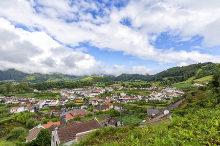 The beautiful island village of Furnas on Sao Miguel in the Azores. 스톡 콘텐츠