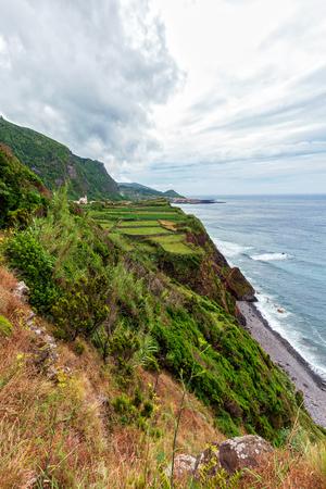 Coastline on Flores island near Ponta da Faja.