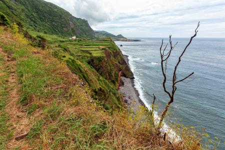 A hiking trail near Ponta da Faja village on Flores island in the Azores.