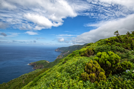 Beautiful green coastline above the small village of Ponta Delgada on the island of Flores in the Azores.