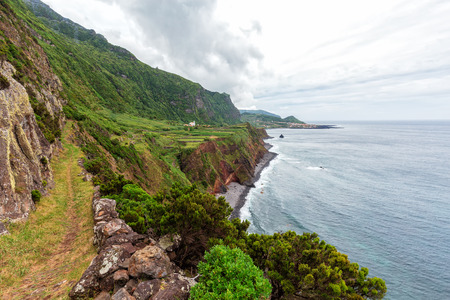 A hiking trail nearby the Ponta da Faja village on Flores island in the Azores.