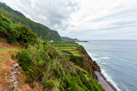 Views from a hiking trail near Ponta da Faja village on Flores island in the Azores.