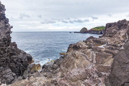 Coastal landscapes near Santa Cruz das Flores in the Azores.