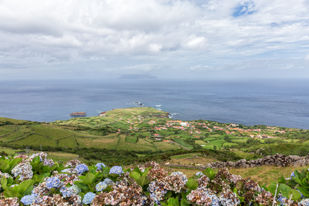 Ponta Delgada overlooking Corvo island in the distance in the Azores.