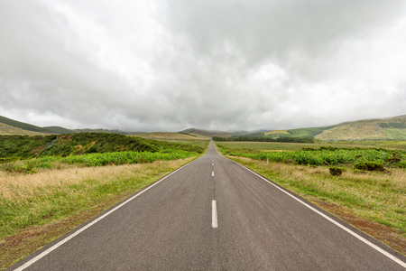 A very straight road on the island of Flores, Azores. Stockfoto