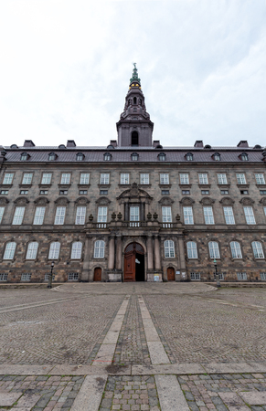 Portrait view of the beautiful Christiansborg Palace in Copenhagen, Denmark.