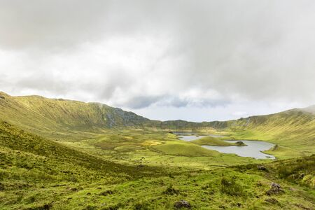 Beautiful grazing land for cattle on the island of Corvo in the Azores, Portugal.