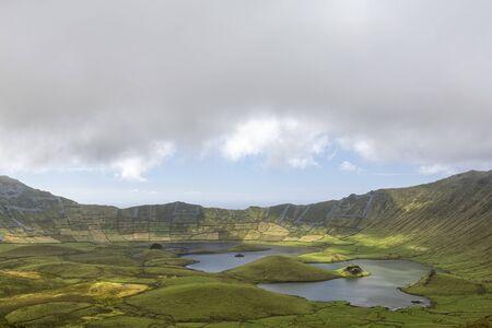 Pastures in the massive Corvo Caldera on the island of Corvo in the Azores, Portugal.