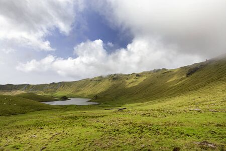 Wide angle view of the Corvo Crater on the island of Corvo in the Azores, Portugal.