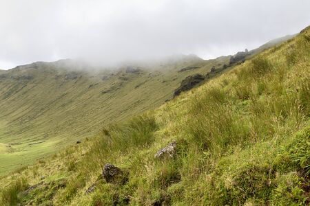 The northern rim of the Corvo Crater on the island of Corvo in the Azores, Portugal.