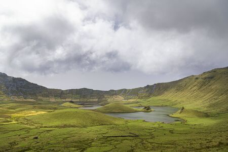 View of a hike into the Corvo Crater on the island of Corvo in the Azores, Portugal.
