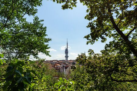 View of the Ziskov Television tower from Vitkov park in Prague, Czech Republic.
