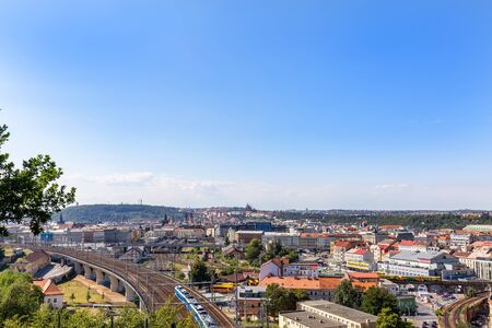 View of Prague district one from Vitkov Park in the Czech Republic. 免版税图像
