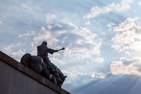 PRAGUE, CZECH REPUBLIC - SEPTEMBER 2: Looking up at the massive John Zizka of Trocnov and the Chalice statue in Prague, Czech Republic on September 2, 2016.