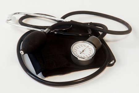 Blood pressure cuff and sphygmomanometer Stock Photo