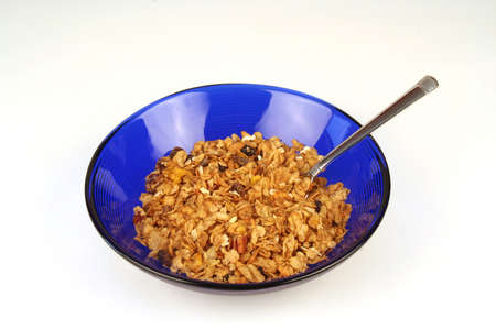 Cereal in a blue bowl photo