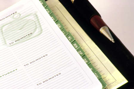 dayplanner:  Day planner open with pen